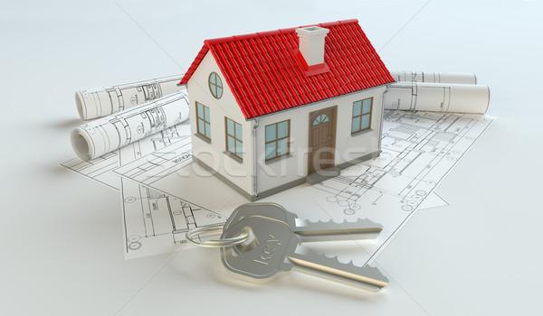 Modell ház kulcstartó terv izolált fehér Stock fotó © cherezoff