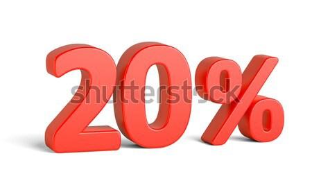 Rood twintig procent teken witte business Stockfoto © cherezoff