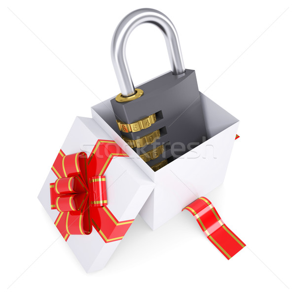 Combination lock in a gift box Stock photo © cherezoff