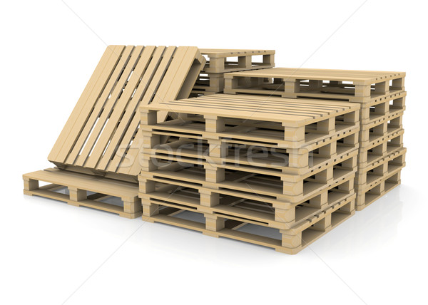 Group wooden pallets Stock photo © cherezoff