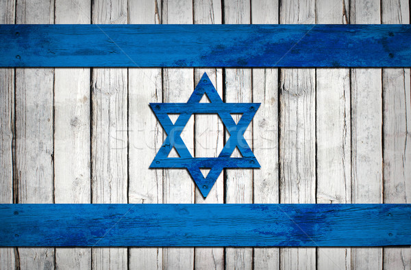 Israeli flag painted on wooden boards Stock photo © cherezoff