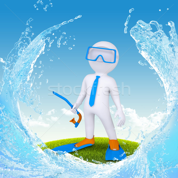 3d diver stand on green grass Stock photo © cherezoff