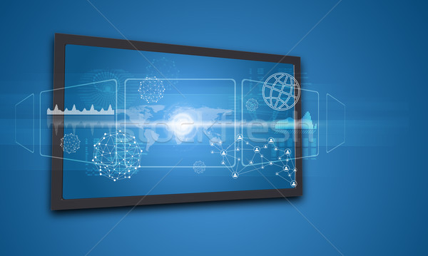 Touchscreen display with world map and other elements Stock photo © cherezoff