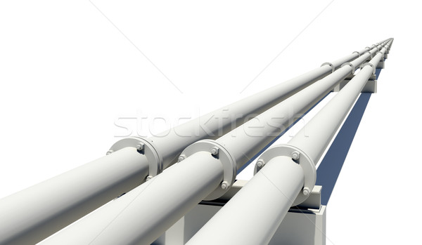 Three pipes stretching into distance. Isolated Stock photo © cherezoff