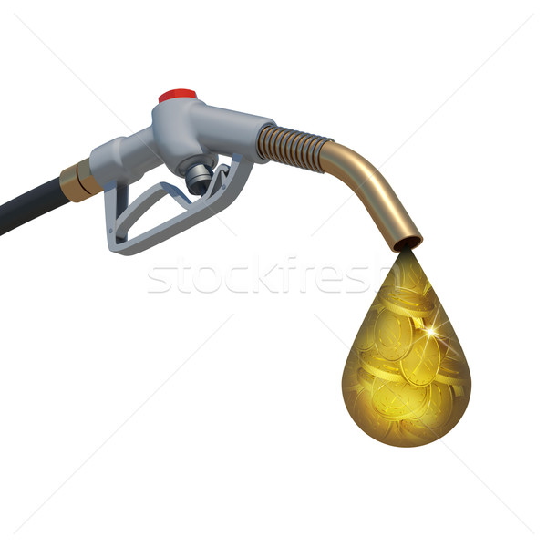 Drop full of gold coins weeping from fuel nozzle Stock photo © cherezoff