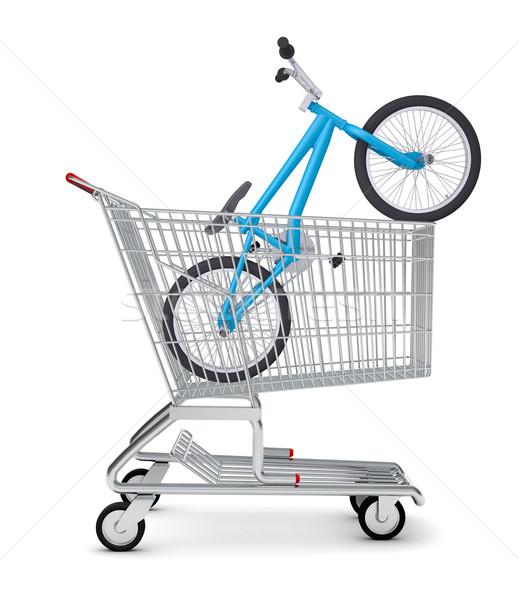 Fiets winkelwagen geïsoleerd witte metaal Blauw Stockfoto © cherezoff
