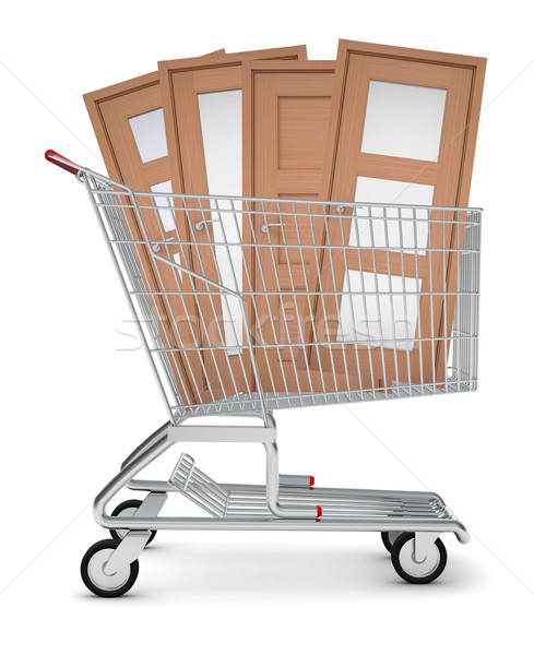 Doors in shopping cart Stock photo © cherezoff