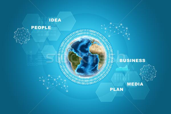 Aarde grafieken abstract Blauw communie afbeelding Stockfoto © cherezoff