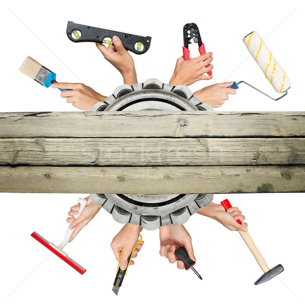 Humans hands holding tools Stock photo © cherezoff