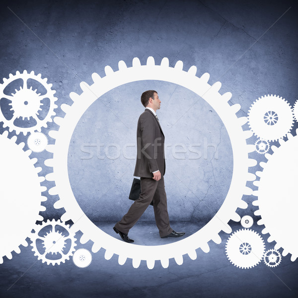 Geschäftsmann Fuß cog Rad abstrakten Büro Stock foto © cherezoff