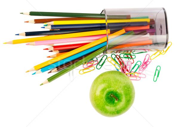 свежие яблоко карандашей бумаги фрукты зеленый Сток-фото © cherezoff