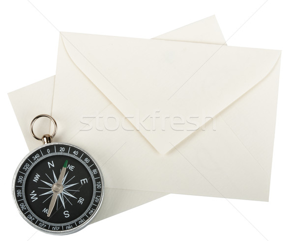 Stock photo: Compass with envelopes
