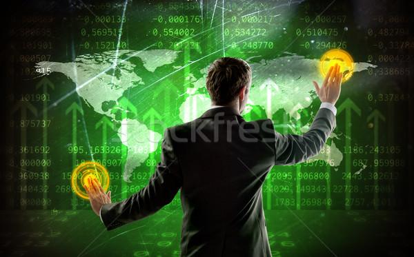 вид сзади бизнесмен прикасаться цифровой экране Мир карта Сток-фото © cherezoff