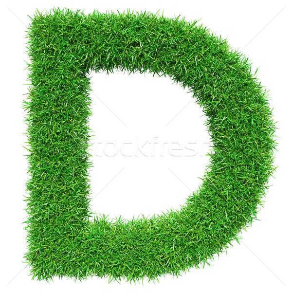 Zöld fű d betű izolált fehér betűtípus terv Stock fotó © cherezoff