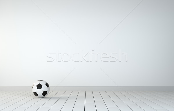 Soccer Ball In Room With Wooden Floor Stock photo © cherezoff