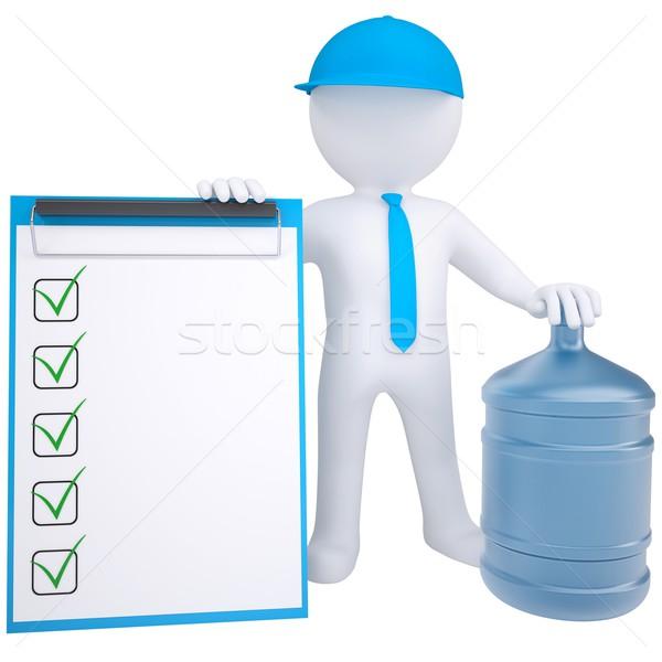 Zdjęcia stock: 3D · biały · człowiek · duży · butelki · wody · odizolowany