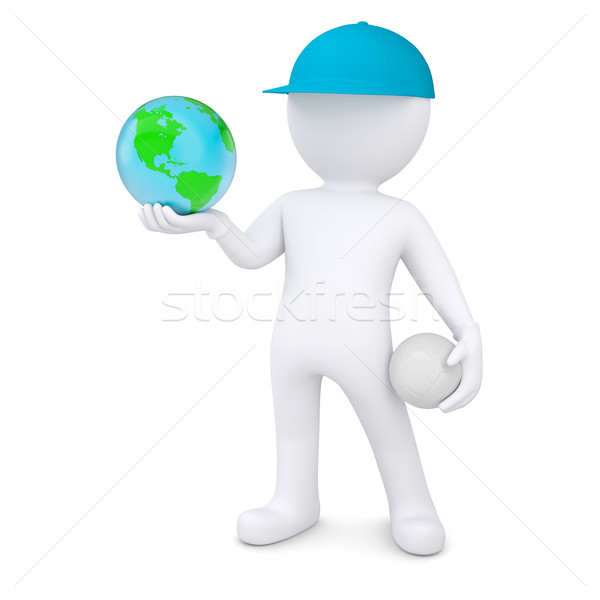 3d man with volleyball ball holding the Earth Stock photo © cherezoff