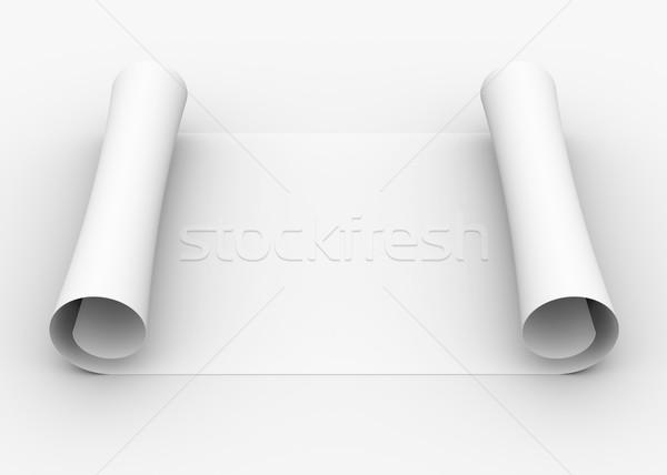 Scroll witte papier geïsoleerd geven grijs Stockfoto © cherezoff