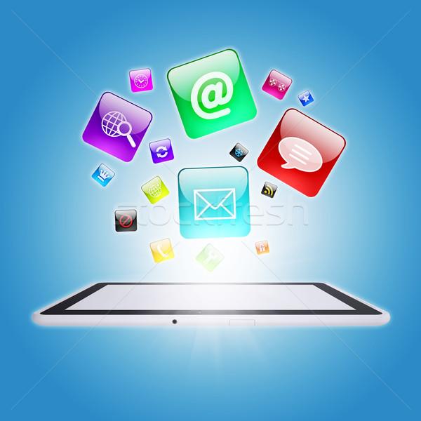 Programa ícones software de computador negócio laptop Foto stock © cherezoff