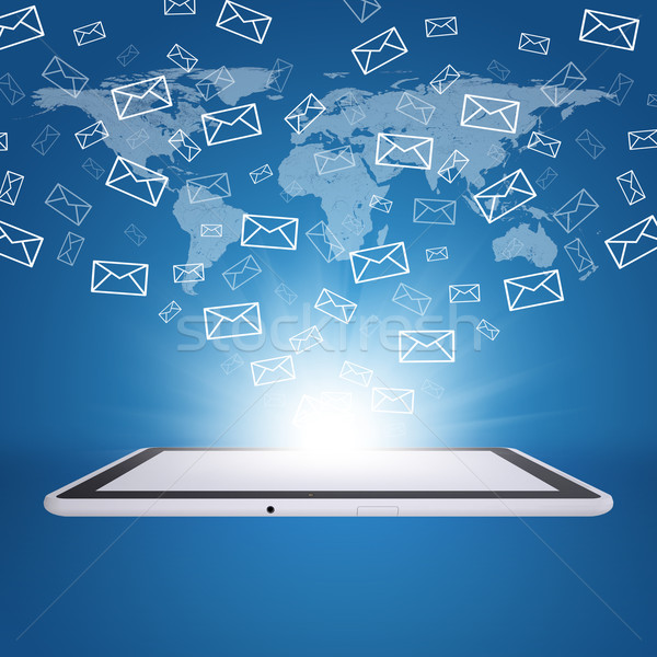Emails fly out of tablet pc screen Stock photo © cherezoff