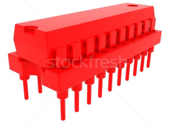 Piros mikrocsip izolált render fehér technológia Stock fotó © cherezoff