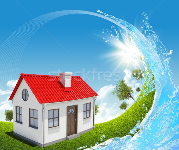 Foto stock: Casa · verde · pradera · inmobiliario · árbol