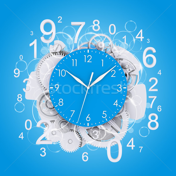 Clock face with figures and white gears Stock photo © cherezoff