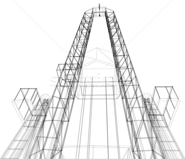 Oil rig. Detailed vector illustration Stock photo © cherezoff