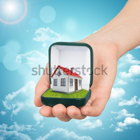 White shack in hand with red roof and chimney of screen laptop.  Background sun shines brightly on l Stock photo © cherezoff
