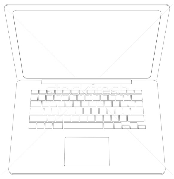 Wire-frame open laptop. Top view. Vector illustration Stock photo © cherezoff
