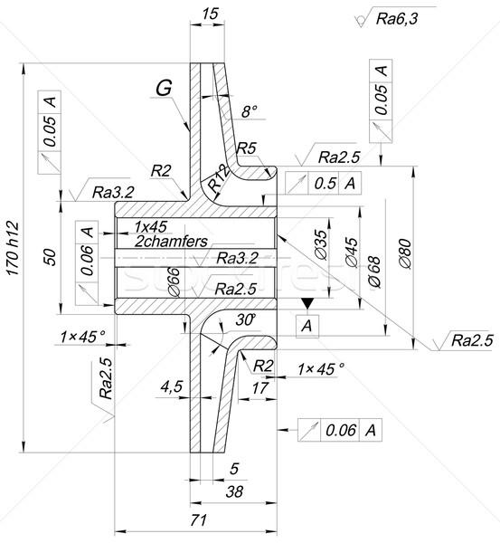 スケッチ エンジニアリング ホイール 行 角度 番号 ストックフォト © cherezoff