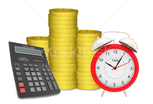 Piles of gold coins with alarm clock Stock photo © cherezoff