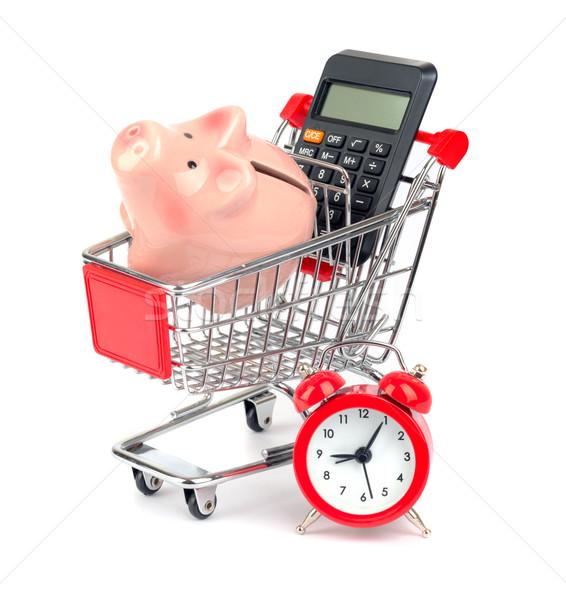 Сток-фото: Piggy · Bank · калькулятор · Корзина · изолированный · белый · часы
