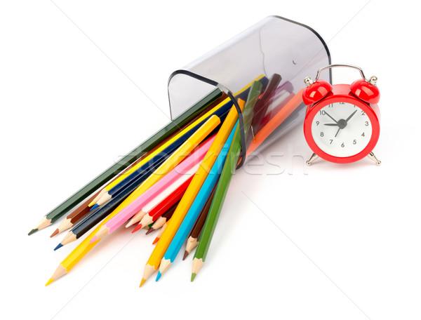 карандашом Кубок карандашей красный будильник изолированный Сток-фото © cherezoff