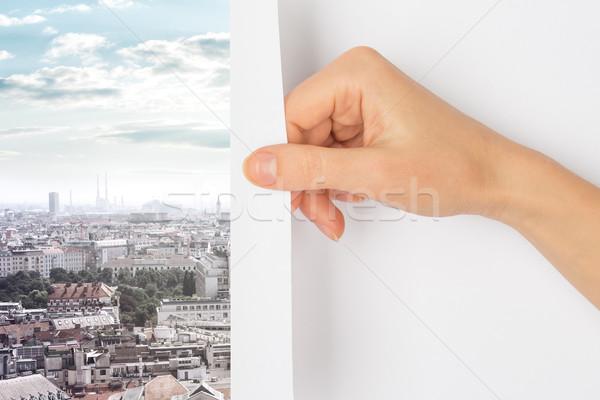 El sayfa şehir gökdelenler gökyüzü kentsel Stok fotoğraf © cherezoff