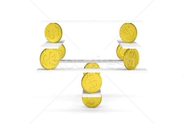 Financial balance with gold money on white Stock photo © cherezoff