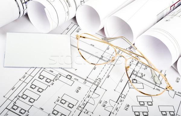 Boş kart gözlük planı yandan görünüş binalar mimari Stok fotoğraf © cherezoff