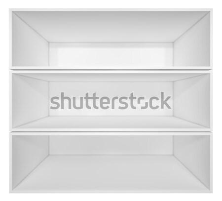Pusty biały półka na książki odizolowany 3d ilustracji biuro Zdjęcia stock © cherezoff