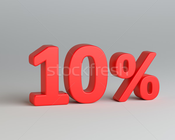 Red ten percent sign on gray background Stock photo © cherezoff