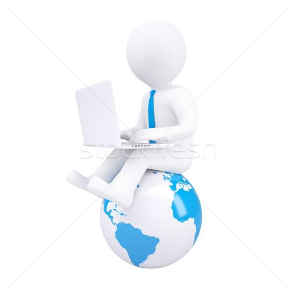 3d white man with a laptop Stock photo © cherezoff