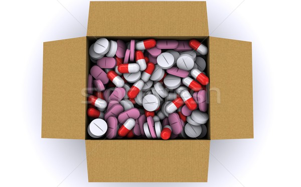 There are many different pills in a cardboard box. View from the top. 3D rendering Stock photo © cherezoff