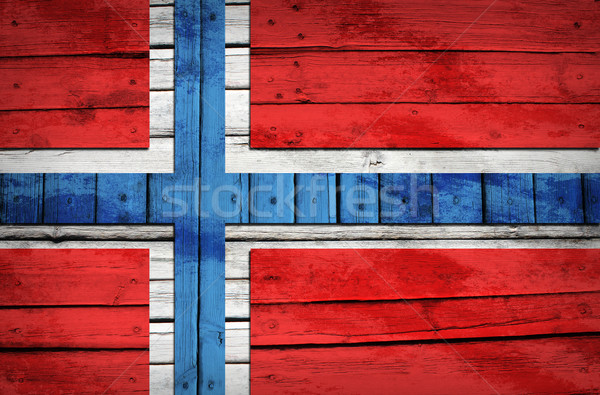 Norwegian flag painted on wooden boards Stock photo © cherezoff