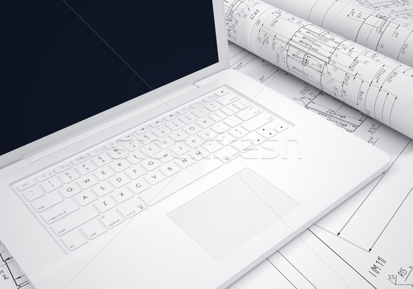 Stockfoto: Engineering · tekeningen · laptop · bureau · ingenieur