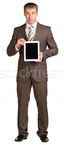 Empresário digital comprimido isolado branco Foto stock © cherezoff