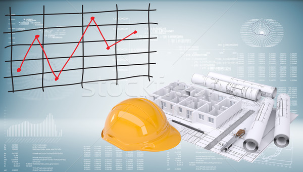 Drawings, helmet and building walls Stock photo © cherezoff