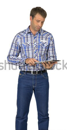 Portrait man holding hands in front of him Stock photo © cherezoff