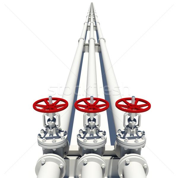 Három fehér csövek izolált fém Stock fotó © cherezoff