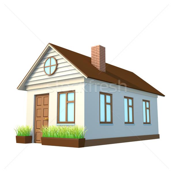Casa blanca chimenea aislado blanco vista lateral familia Foto stock © cherezoff