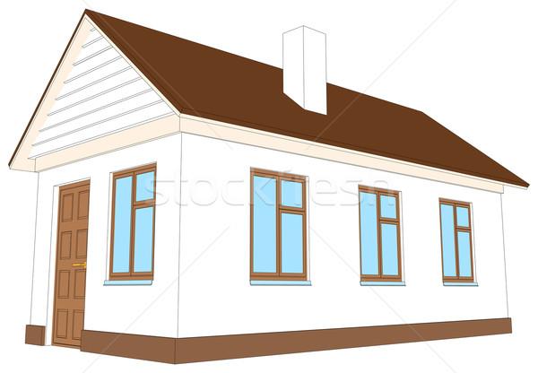Casa blanca chimenea aislado blanco vista lateral edificio Foto stock © cherezoff