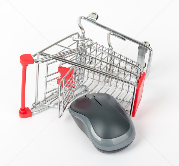 コンピューターのマウス ショッピングカート 白 孤立した 紙 ショップ ストックフォト © cherezoff